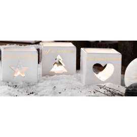 "L'Oca Nera Porta t-light set 3 pz con t-light in porcellana collezione ""Bianco Natale""."